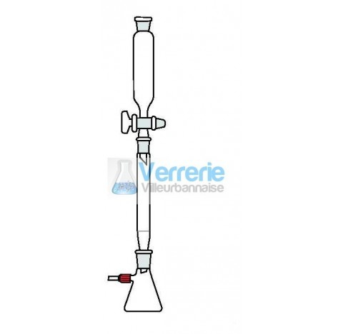 Ensemble chromatographique fritte porosite 1 sous vide en verre pyrex constitue de : 1 fiole a vide