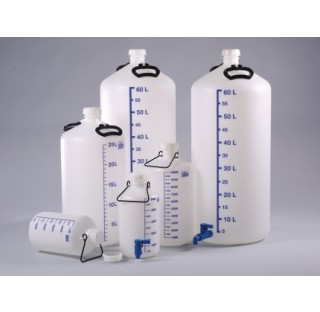 Bouteille de decantation 10 litres diametre 206 mm hauteur sans bouchon 427 mm une poignee de transp