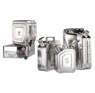Bidon de securite en inox 10 litres dimensions 280x130 mm hauteur 380 mm bouchon filete 1 1/2 joints