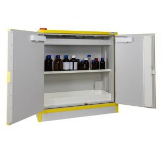 Armoire 113 litres equipee a 2 portes ,une Etagere et un bac de retention en acier, armoire de secur