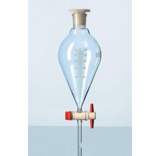 Ampoules a decanter DURAN, forme conique avec cle PTFE, robinet RIN et dispositif de securite, avec