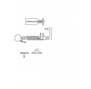 Appareil de dosage des alginates selon USP, ballon 250 ml , condenseur, flacon laveur 500 ml fritte