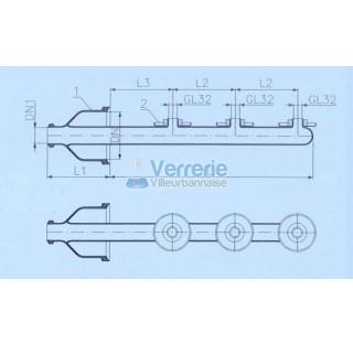 Tube d'alimentation arroseur DN 150 KZB et DN 50 KZA Longueur L: 640 mm L1: 200 mm verre industriel