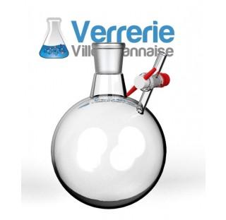 Tube Shlenk forme ballon 100 ml rode 29/32 avec robinet cle verre voie de 2,5 mm verre Pyrex verreri