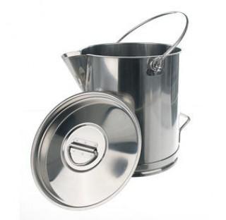 Bidon gradue inox 20 litres hauteur 400mm diam int 270 mm avec anse et bec verseur, couvercle vendu