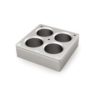 Bloc chauffant 4 postes  diametre de trous 28,5 mm , volume : 20 ml , dimensions: 79x79 mm