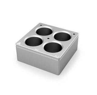 Bloc chauffant 4 postes  diametre de trous 28,5 mm , volume : 30 ml , dimensions: 79x79 mm