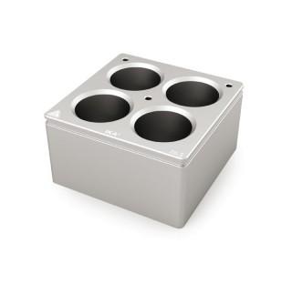 Bloc chauffant 4 postes  diametre de trous 28,5 mm , volume : 40 ml , dimensions: 79x79 mm