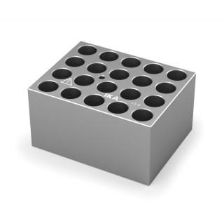 Block pour tubes fond rond 12/13 mm 20 trous , diametre des trous 13,9 mm profondeur des trous 48,4