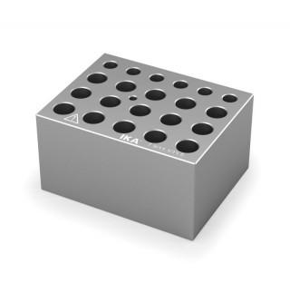 Block pour assortiments de tubes a essai pour 0,5 ml , 1,5 ml et 2 ml , 6 trous diam 7,9 mm prof 27,