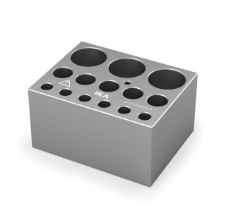 Block pour assortiments de tubes a essai 6 trous diametres 8,3 mm prof 48,4 mm , 5 trous diam 13,9 m