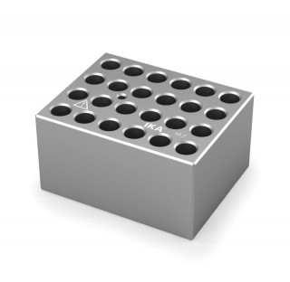 Block pour tubes fond rond 10 mm 24 trous , diametre des trous 10,7 mm profondeur des trous 48,4 mm