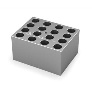 Block pour tubes fond rond 12/13 mm 16 trous , diametre des trous 13,9 mm profondeur des trous 48,4