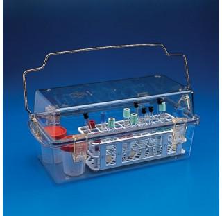 Boite de securite en PC  dim: 330x175x180mm autoclavable poignee en inox plastique Kartell
