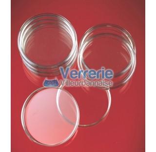 Boites de petri Diam. 60 mm verre pyrex Diam ext du couv. 60mm Haut totale 20mm Diam de la base 57 H