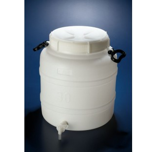 Bonbonne 30 litres en HDPE a robinet diametre interne de col 240 mm hauteur 415 mm, diametre 380 mm