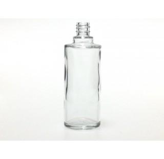 Bouillotte ronde 50 ml en verre blanc bague EUR4, flacon cosmetique en verre