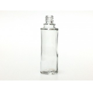 Bouillotte ronde 30 ml en verre blanc bague EUR4, flacon cosmetique en verre