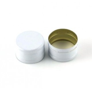 Capsule aluminium blanc 28x18 a sertir, sans split et joint Saranex