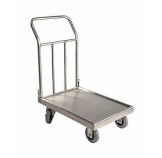 Chariot inox 785x450 hauteur 850mm 300 kg max 2 roues guidables , chariot soude