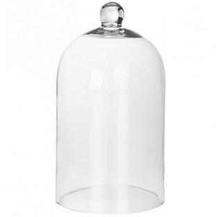 Cloche en verre  Diametre 180 mm externe hauteur 200 mm ep 5 avec bouton cloche de decoration en ver