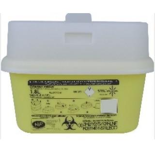 Collecteur dechets perforants 1.8 litre hauteur 140 mm  longueur : 192 mm largeur 126 mm avec cape a