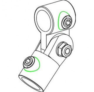 Connecteur de tube diam 26,9 mm pour pivotation des tubes en acier trempe