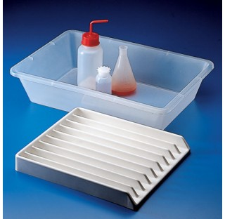 Plateau rectangulaire en PVC  Dimensions 300x355x42 mm 9 compartiments largeur 25 mm plastique Karte
