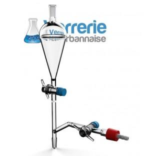 Dispositif de dégazage et de remplissage , ampoule à décanter 50 ml avec 2 robinets cle PTFE 2.5