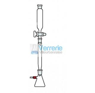 Ensemble chromatographique sans fritte sous vide en verre pyrex constitue de : 1 fiole a vide 250 ml