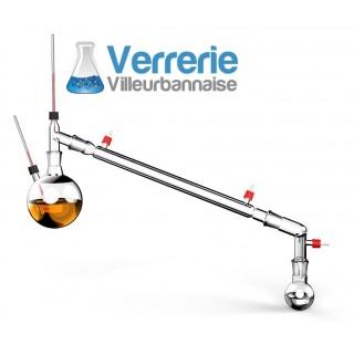 Ensemble de distillation sous vide comprenant Ballon bicol 500ml 24/29 avec prise thermometique. Une