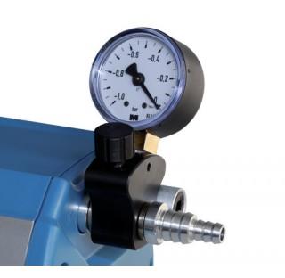 Regulateur de pression, manuel, avec vacuometre de Bourdon pour pompes a membrane ME 1, avec embout