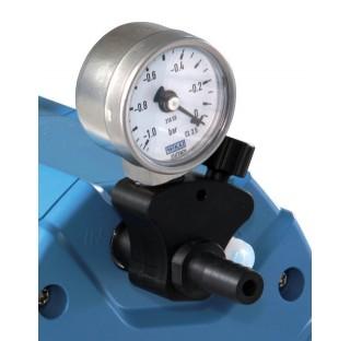 Regulateur de pression chimique, manuel, avec vacuometre de Bourdon, pour pompe a membrane chimique