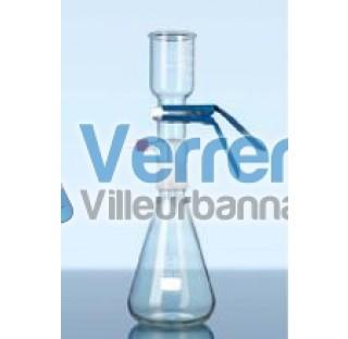 Support de filtration complet diam 47 compose d'une fiole rode 45/40 male , d'un raccord , d'un ento