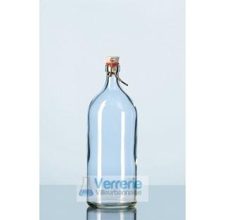 Flacon 100 ml a bord a bague en verre, avec fermeture a etrier, bouchon mecanique,diametre 45 mm  .
