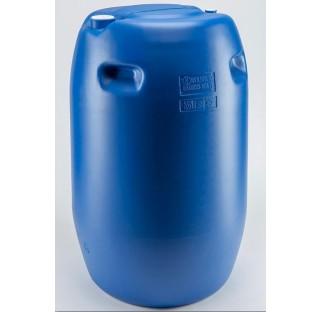 fut OP en PEHD bleu 220 litres, cylindrique, ouverture partielle, colisage de 15 futs. HOM. UN Y.1.9