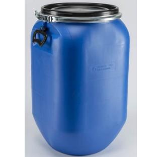 fut OT en PEHD bleu 30 litres, carre, ouverture totale,2 poignees, homologue solide.