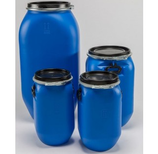 fut OT en PEHD bleu 30 litres, carre, ouverture totale,2 cavitees, HOM. NON ALIM. homologue solide.