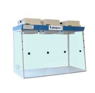 Hotte a filtration H15 a 3 Modeles de filtration a Passage Trapeze, dimensions exterieures (LxPxH) 1