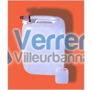 Jerrican 20 Litres PEHD blanc avec bouchon noir , robinet vendu separement ref : RO48ROB