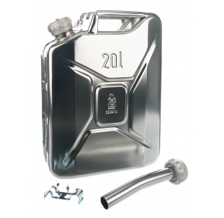 Jerrycan inox 20 litres 275x169mm hauteur 470mm avec bouchon visse 4 kg (tube de versage non inclus)