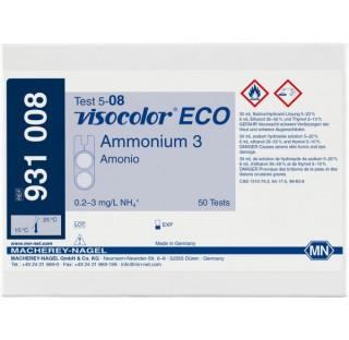 Kit de test colorimetrique  Visocolor eco ammonium 3, conditionnement 50 tests.Graduation am