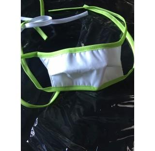 Masque grand public lavable, masque tissu polyester coton 120 gr blanc, mousse polyester 100gr/m²,