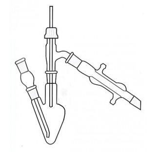 Ensemble micro distillation 5 ml compose de : un ballon forme poire 25 ml bicol rodage 14/23 , une t