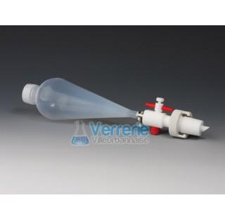 Ampoule a decanter translucide en FEP 125ml rodage male 29/32 et robinet en PTFE Temp max de -200 a