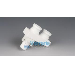 Distributeur en PTFE 1 rodage male 29/32, 2 rodages femelle 29/32 dim : 113x40x105 mm Temp. -200 a +