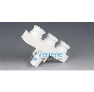 Distributeur en PTFE 1 rodage male 29/32, 3 rodages femelle 29/32 dim : 113x40x105 mm Temp. -200 a +