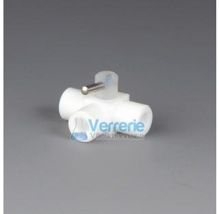 Robinet 3 voies PTFE pour tuyau 1,6x3,2mm 3 pas de vis femelle UNF1/428G en T pour HPLC (chromatogra