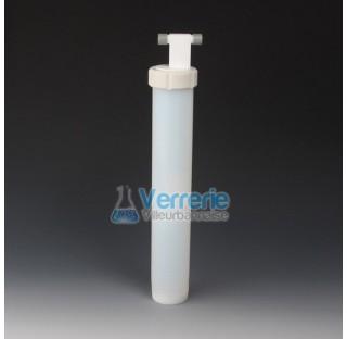 Piege cryogenique en PFA 320ml diam ext60 mm hauteur totale 400mm 2 pas de vis GL 14 Temp max : -200