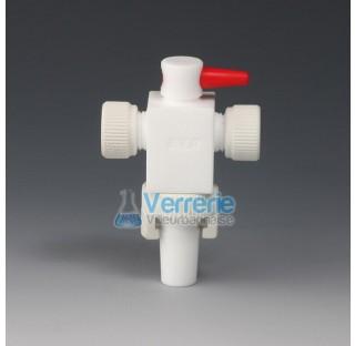 Robinet a vide pour appareil a distillation en PTFE rodage 19/26 diam de passage de 2 mm Temp max de